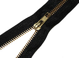 Застежка-молния джинсовая черная GOLD 18 см. прижимная