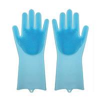 Силіконові рукавиці SUNROZ для миття посуду зі щіточкою Блакитний, фото 1