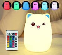 """Силиконовый ночник-игрушка """"Котик с голубыми ушками"""" 3DTOYSLAMP с пультом ДУ, фото 1"""