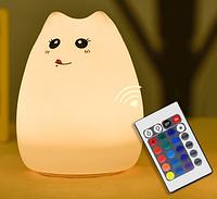 Силиконовый ночник «Котик с язычком» с пультом 3DTOYSLAMP, фото 1
