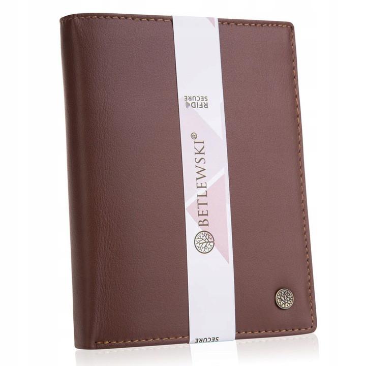 Шкіряний гаманець BETLEWSKI з RFID 12,8 х 10 х 2,5 (BPM-BH-62) - коричневий