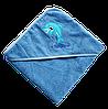 Полотенце детское для купанья с капюшоном махра 90*90 380г/м2 (TM Zeron), голубое Турция