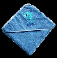Полотенце детское для купанья с капюшоном махра 90*90 380г/м2 (TM Zeron), голубое Турция, фото 1
