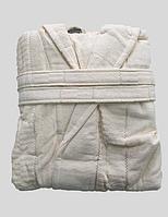 Халат женский махра/велюр короткий с капюшоном С/М, Л/ХЛ ( TM Gursan), кремовый Турция, фото 1