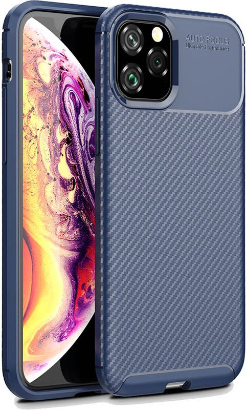 Чехол-накладка Ipaky Carbon Fiber Series/Soft TPU Case Apple iPhone 11 Pro Max Navy Blue #I/S