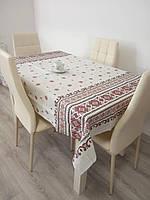 Скатерть столовая 110х150 см из рогожки Вышиванка на белом TRA-1-303