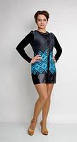 Стильное женское платье со вставками кожзама