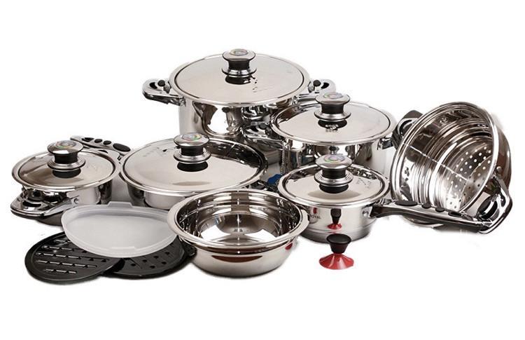 Большой набор кухонной посуды Benson 18 предметов (BN-200) из нержавеющей стали