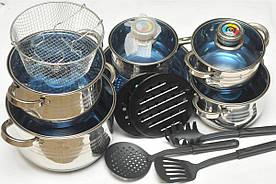 Кухонный набор посуды Swiss Family на 18 предметов (SF-1225MB) девятислойное дно
