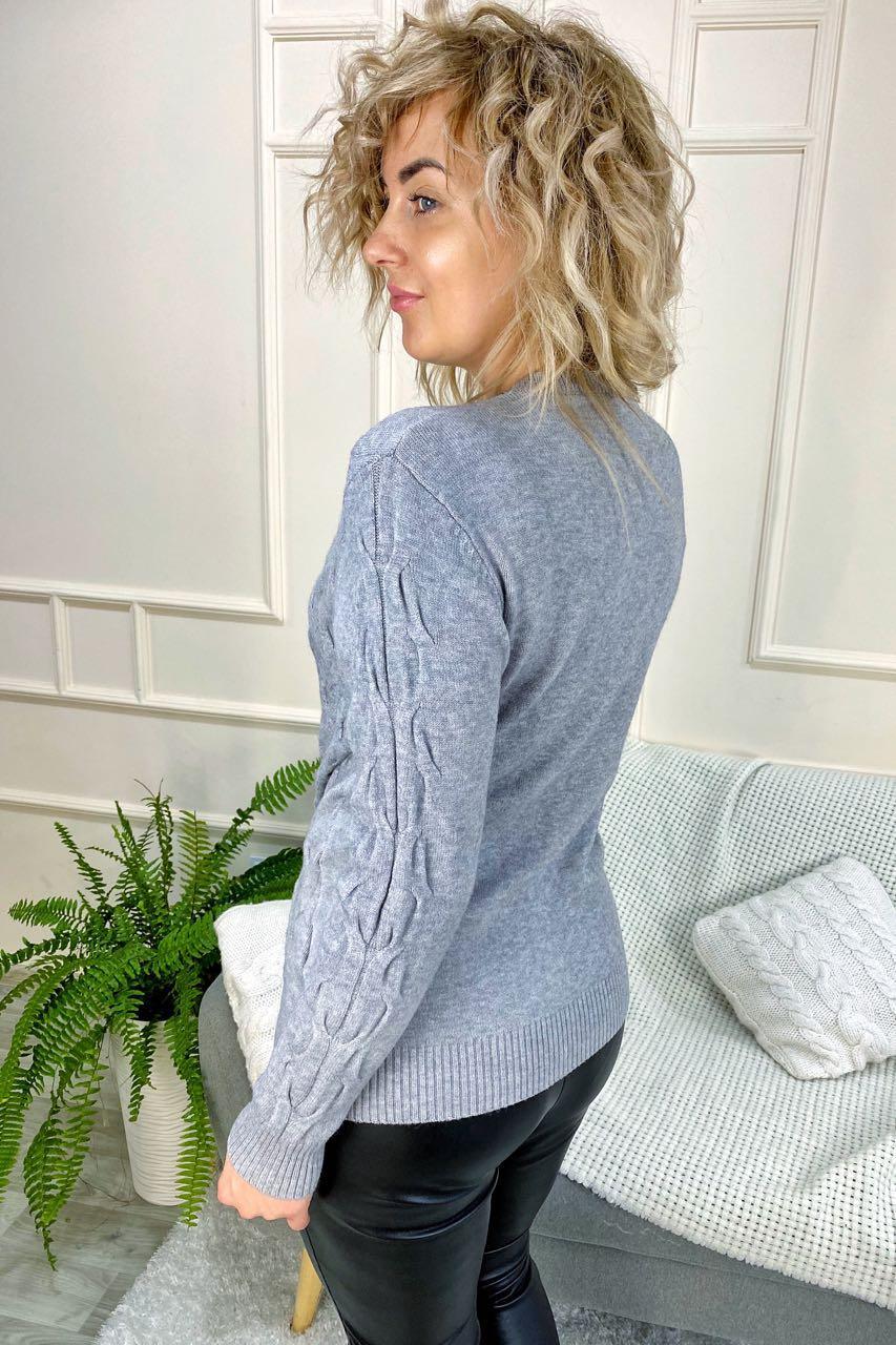 Джемпер з косими косами P-M - сірий колір, L/XL (є розміри)