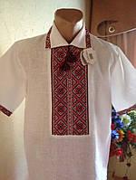 Вишиванка чоловіча з натурального льону з червоним візерунком