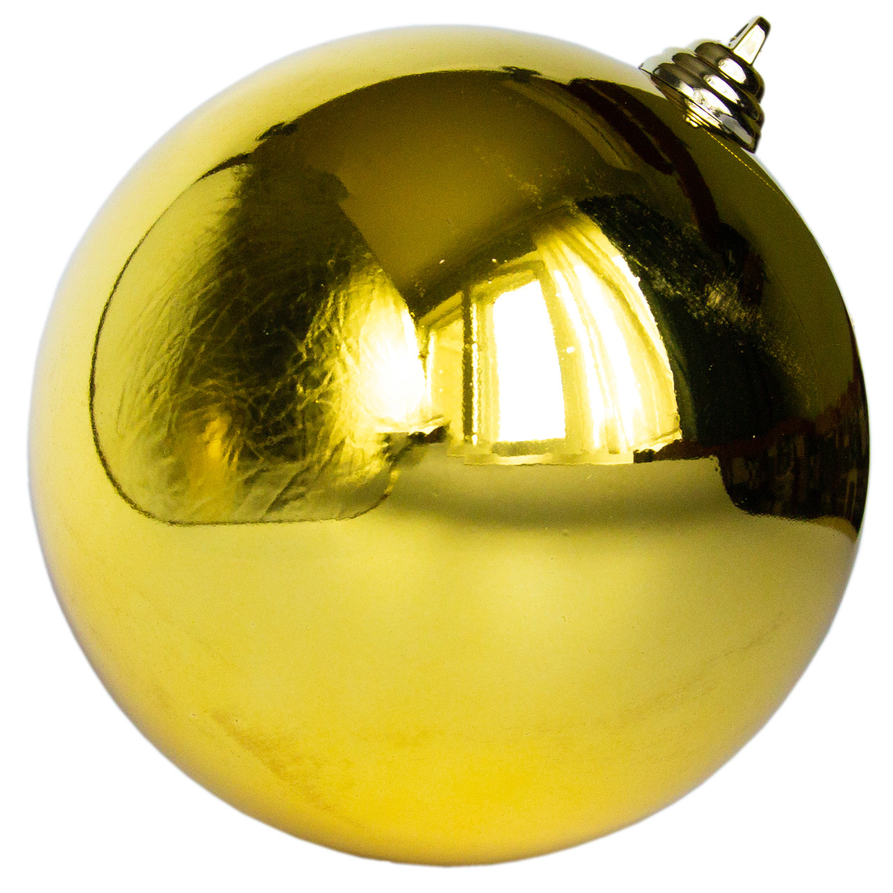 Елочный шар пластиковый на елку, глянцевый, золотой, 15 см (250157)