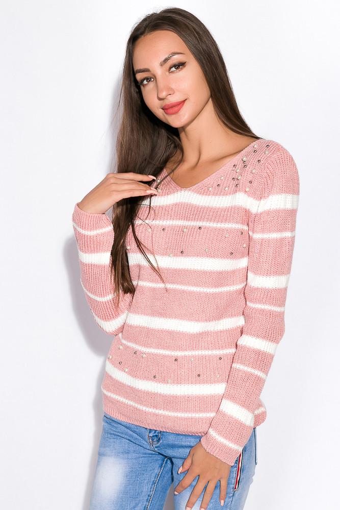 Свитер женский 120PVA1016 (Бело-розовый)