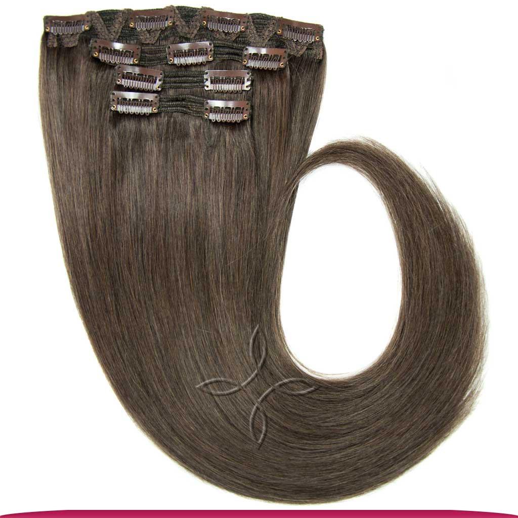 Натуральные Европейские Волосы на Заколках 40 см 110 грамм, Шоколад №09