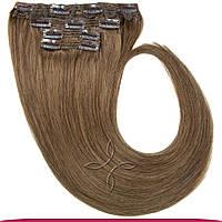 Натуральные европейские волосы на клипсах 40 см 120 грамм, Русый холодный №10