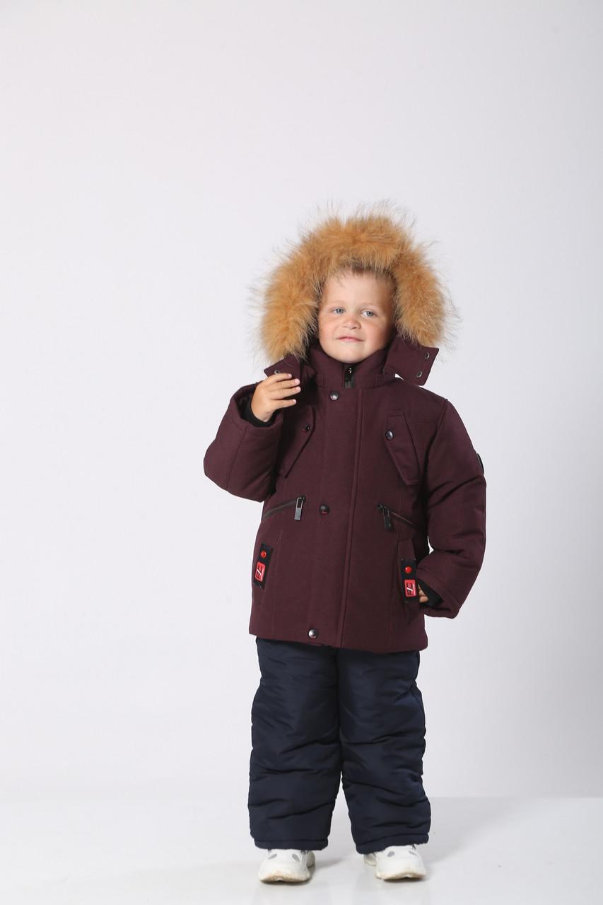 Дитячі зимові комбінезони на хлопчиків 22-30 Бордо