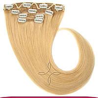 Натуральные европейские волосы на клипсах 40 см 120 грамм, Русый светлый №16M