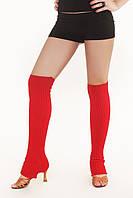 Вязанные гетры красные 60 см