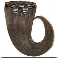 Натуральные европейские волосы на заколках 55 см 120 грамм, Русый пепел №09