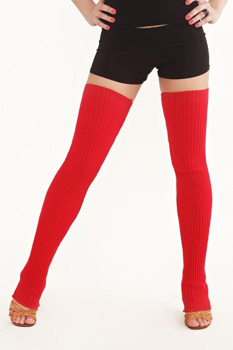 Вязанные гетры красные 70 см