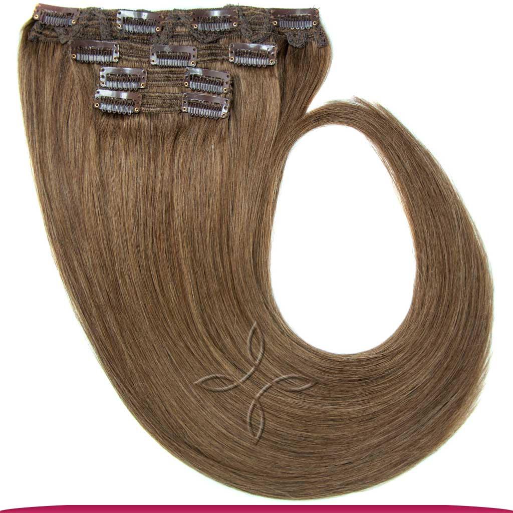 Натуральные Европейские Волосы на Заколках 55 см 110 грамм, Русый №10