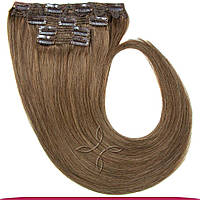 Натуральные европейские волосы на заколках 55 см 120 грамм, Русый холодный №10