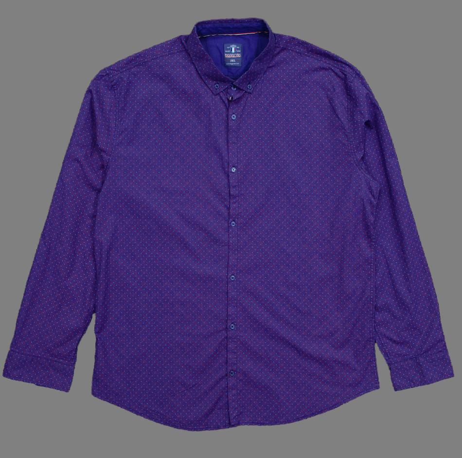 Сорочка чоловіча, приталена (Slim Fit), з довгим рукавом Bagarda BG6707-B INDIGO 93% бавовна 7% еластан 3XL(Р)