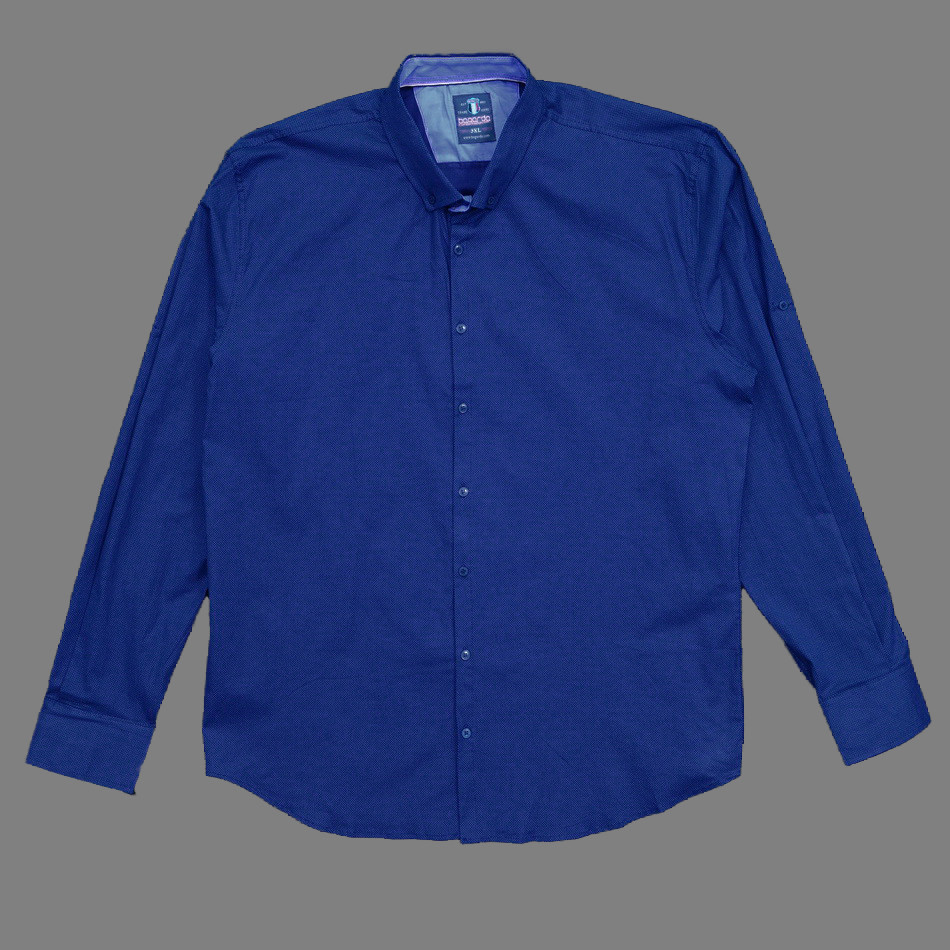 Сорочка чоловіча, приталена (Slim Fit), з довгим рукавом Bagarda BG6708-B01 INDIGO 93% бавовна 7% еластан