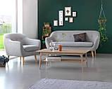 Кресло стильное мягкое с подушкой светло серое, фото 4