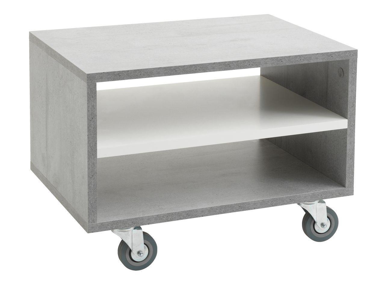 Столик журнальный прямоугольный на колесиках (под бетон)