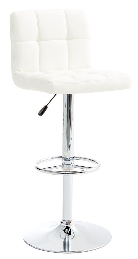 Барный стул белый ( кож. зам + металлическая ножка)