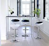 Барный стул черно белый ( кож. зам + металлическая ножка хром), фото 2