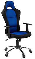 Кресло компьютерное на колесиках тканевое сине черное с ручками и подземным механизмом