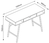 Стильный офисный стол с ящиком черным 120 см, фото 2