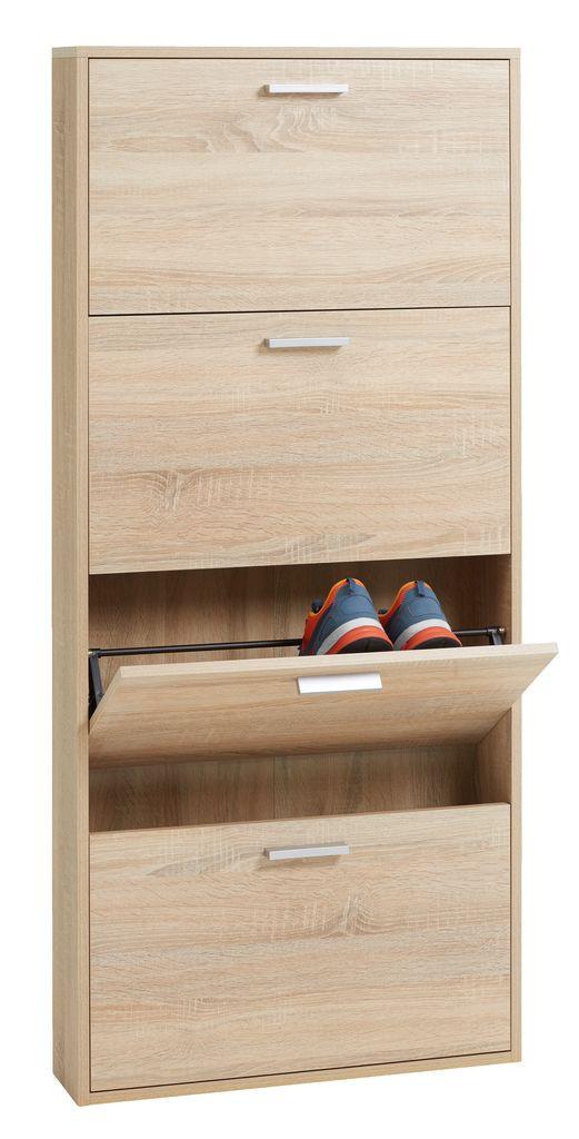 Шкаф для обуви, цвет дуб с 4-мя отделениями