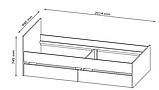 Кровать-кушетка 90x200 бетон / белый с коробом для белья, фото 3