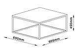 Столик из метала квадратный 60x60 см (Отделка под бетон), фото 4