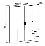 Шкаф распашной белый на 3 двери и 3 ящика выдвижных, фото 2