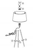 Настольная лампа черная на ножках (высота 49 см), фото 3