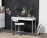 Кресло офисное на колесиках белое кожаное с подъемным механизмом, фото 3