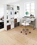 Кресло офисное на колесиках белое кожаное с подъемным механизмом, фото 4
