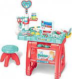 Доктор игровой набор 660 62 стол, стульчик, компьютер, инструменты, 22 предмета, звук, свет, фото 3
