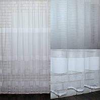Тюль жаккард полоска,(4х2,5) цвет белый. Код 525т 40-256, фото 1