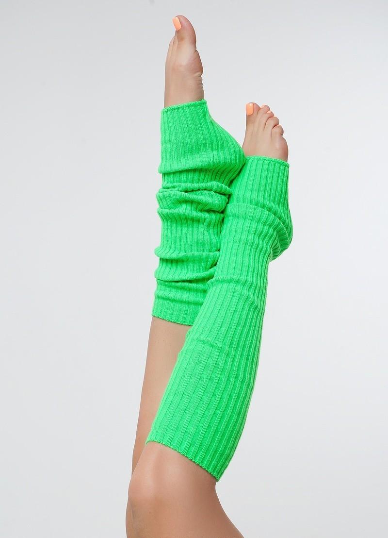 Вязанные гетры зеленый 60 см