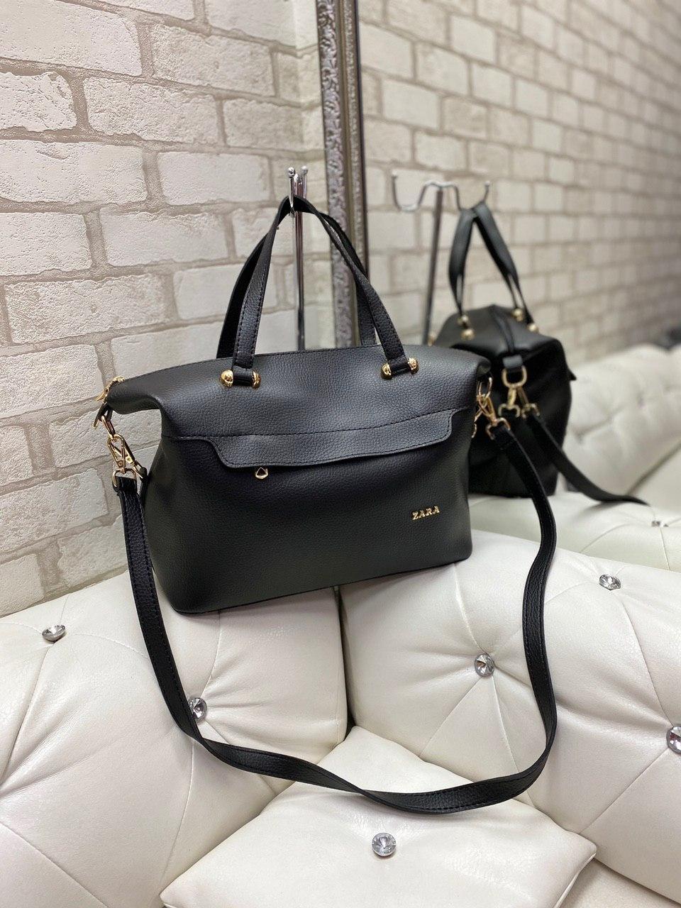 Большая женская черная сумка на плечо модная городская саквояж шоппер брендовая кожзам