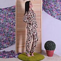 """Женская махровая пижама с леопардовым принтом """"Leopard-dark"""" р.44-56"""