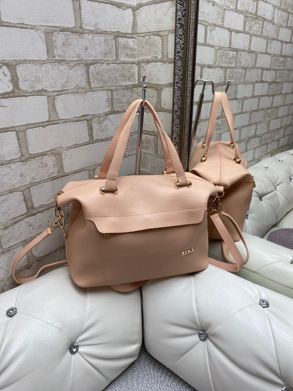 Большая женская сумка на плечо пудровая модная городская саквояж шоппер брендовая кожзам