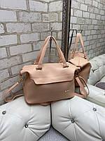 Большая женская сумка на плечо пудровая модная городская саквояж шоппер брендовая кожзам, фото 1