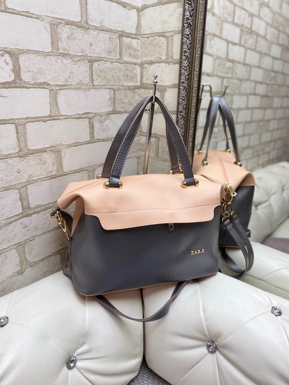 Большая женская сумка на плечо пудра графит модная городская саквояж шоппер брендовая кожзам