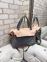 Большая женская сумка на плечо пудра графит модная городская саквояж шоппер брендовая кожзам, фото 1